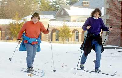 Warmer weather hit Saratoga Springs Thursday as Sherri Benner, of Glenville (left), and Melissa McCann, of Ballston Spa, hit the Saratoga Spa Park cross country skiing near the reflection pool. Temperatures are supposed to be in the mid-40s through the weekend. Photo Erica Miller 12/30/10 news_SkiingPark_up