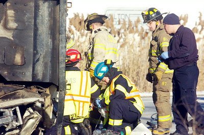 Wilton Fire Department and Wilton EMS on scene for a accident occurring on Ballard Road and intersection of Northern Pines Road, in Wilton, involving a garbage truck and a dump truck shortly after 1:00. Photo Erica Miller 12/28/10 news_Accident5_Wed
