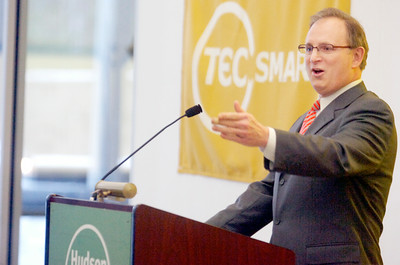 Hudson Valley Community College President Dr. Andrew J Matonak spoke on behalf of congratulating Senator Roy McDonald at his swearing-in ceremony Wednesday afternoon at the TEC-SMART campus, through Hudson Valley Community College. Photo Erica Miller 12/29/10 news_McDonald5_Thurs