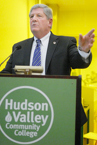 Senator Roy McDonald delivers his speech to a packed audience during his swearing-in ceremony Wednesday afternoon at the TEC-SMART campus, through Hudson Valley Community College. Photo Erica Miller 12/29/10 news_McDonald3_Thurs