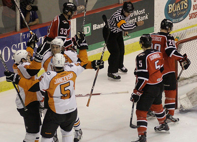 Teammates congratulate Adirondack's Mike Teswuide, left, aftr his first period goal over Portland Pirate goalie Justin Pogge during Friday's AHL matchup in Glens Falls. Ed Burke 12/30/11