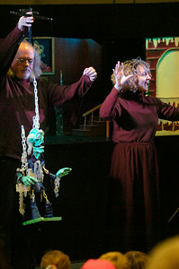 Michelle Carrigan and her husband Mark, owners of The Puppet People based out of Schenectady, introduce their puppets to audiences at the Saratoga Springs Public Library on Thursday. Their performance was of A Christmas Carol for three showings yesterday. Photo Erica Miller 12/29/11 news_Puppets1_Fri