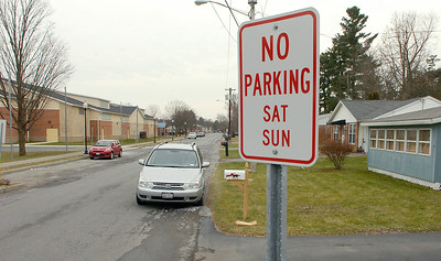 Weekend No Parking signs have been put up on the south side of Vanderbilt Ave. near the Saratoga Springs Recreation Center. Ed Burke 12/30/11