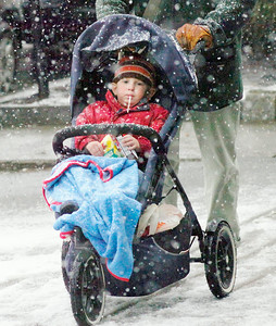 Two year old Henry Parobeck chews on a straw while his father Mark pushes him in a stroller along Broadway during Tuesday's snowfall. Ed Burke 2/23/10