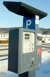 Paid parking machine in the parking lots of Lake George Village. Photo Erica Miller 1/29/10 news_ParkingMeter2_Sun