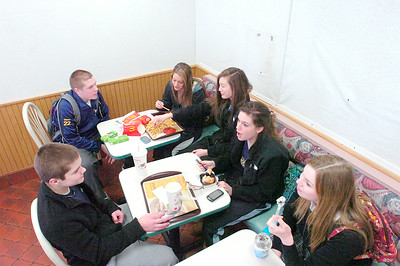 "Students from nearby Saratoga Central Catholic High School sit at their ""regular"" table Friday at the soon-to-close McDonald's restaurant on South Broadway. Students clockwise from top right: Cameron Coons, Meghan Mensler, Sarah Watson, Liana Jiampetti Jaimie Delaney and Michael Angelini. Ed Burke 1/28/11"