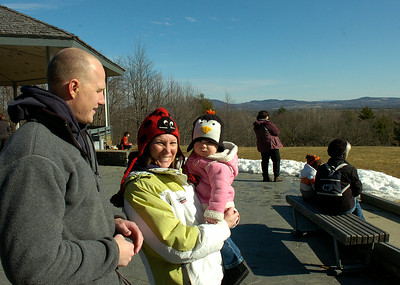 Dan and Amanda Bornt of Stillwater bring their daughter Finley to her first Frost Faire Saturday at Saratoga National Historical Park. Finley turns one year old on February 12. Ed Burke 1/28/12