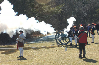 Reenactors fire a cannon during Saturday's annual Frost Faire at Saratoga National Historical Park. Ed Burke 1/28/12