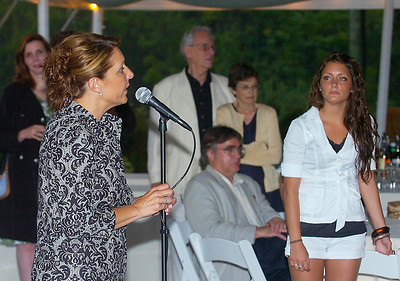 With daughter Laura looking on, Saratoga Springs Supervisor Joanne Yepsen announces her intention to seek another term representing the city on the Saratoga County Board of Supervisors. Yepsen made the announcement Wednesday at Saratoga National Golf Course. Ed Burke 7/29/09