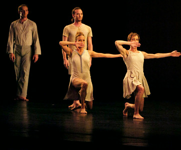 (l-r) Craig Biesecker, Brandon McDonald, Julie Worden and Elisa Clark performed in All Fours III. Non troppo lento from the Mark Morris Dance Group. The dance company will also be performing today for a matinee at 2 p.m. Photo Erica Miller 7/20/09 fea_MarkMorris2_up