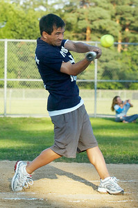 For team Jockey Corey Nakatani up to bat during their softball game benefiting the Permanently Disable Jockey's Fund at the East Side Rec Monday evening. Photo Erica Miller 8/1/11 news_Softball5_Tues