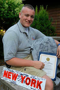 Boy State Governor Chris Watson from Wilton at his home with his autographed memorabilia from visiting in Washington D.C. where he met Barak OBama. Photo Erica Miller 7/30/12 news_BoyState_Tues