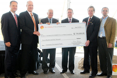 GlobalFoundries in the Saratoga Technology and Energy Park ground breaking ceremony of their newest administrative building on FAB8 campus, as they hand over a $750,000 check to the Town of Malta Foundation. Photo Erica Miller 6/30/11 news_GloFoAdmin3_Fri