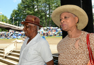 Ricardo Thomas and Vivian Foxworth of Jamaica, Queens attend the jazz festival Saturday at SPAC. Ed Burke 6/29/13