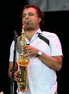 Alto saxophonist and composer Rudresh Mahanthappa and his band open Saturday's main stage line up at the Freihofer Saratoga Jazz Festival. Ed Burke 6/29/13