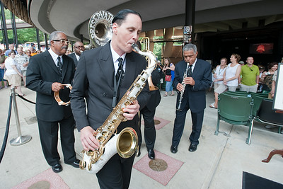 The Preservation Hall Jazz Band performes next to the newly dedicated Star in the Walk of Fame for jazz legend Dave Brubeck Sunday afternoon during Freihofer's Saratoga Jazz Festival. Photo Eric Jenks, 6/30/13