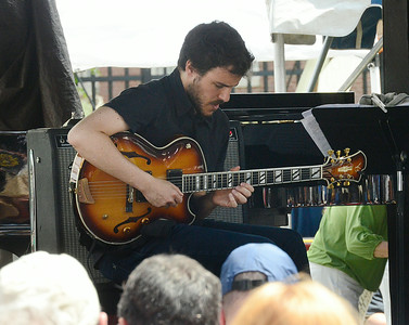 Gilad Hekselman plays with his trio on SPAC's gazebo stage during Saturday's lineup at the Freihofer Saratoga Jazz Festival. Ed Burke 6/29/13