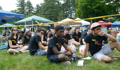 High School age jazz students at Skidmore's Summer Jazz Institute watch the Gilad Hekselman Trio perform on the gazebo stage during Saturday's lineup at the Friehofer's Saratoga Jazz Festival. Ed Burke 6/29/13
