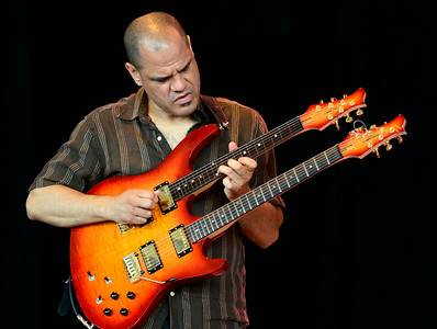 "Guitarist David ""Fuze"" Fiuczynski plays with Rudresh Mahanthappa and his band as they open Saturday's main stage line up at the Freihofer Saratoga Jazz Festival. Ed Burke 6/29/13"