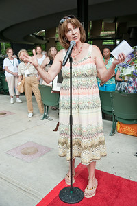 Catherine Brubeck Yaghsizian addresses the crowd in front of the newly dedicated Star in the Walk of Fame in honor of her father Dave Brubeck Sunday afternoon during the Freihofer's Saratoga Jazz Festival. Photo Eric Jenks, 6/30/13