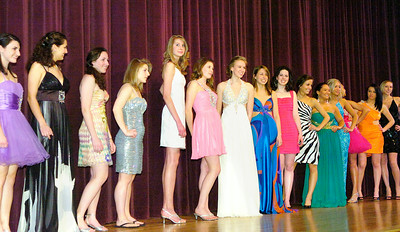 Models pose during Ballston Spa High School's prom fashion show on Wednesday. All dresses were provided by Rockabella Boutique of Saratoga Springs. Ed Burke 3/31/10