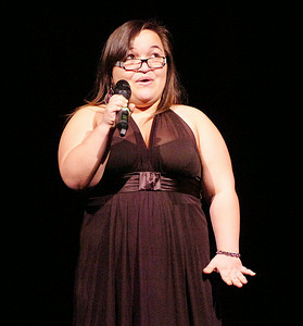 "Cheri Ruiz performs ""Defying Gravity"" during Friday's Just Desserts cabaret fundraising show by the Ballston Spa High School Troupe. Ed Burke 3/4/11"