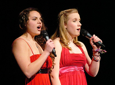 "Victoria Sutton, left, and Martha Johnson perform ""What I did For Love"" during Friday's Just Desserts cabaret fundraising show by the Ballston Spa High School Troupe. Ed Burke 3/4/11"