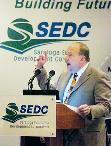President of Saratoga Economic Development Corporation Dennis Brobston spoke at the Holiday Inn launching their global marketing video Wednesday morning. Photo Erica Miller 3/31/10 news_SEDCvideo1_Thurs