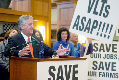 Albany Mayor Gerald Jennings spoke during the news conference hosted by Joanne Yepsen, Saratoga County Supervisor,  for a Region call to action regarding the jeopardy of losing thoroughbred racing in Saratoga. Photo Erica Miller 3/30/10 news_RacingConf1_Wed