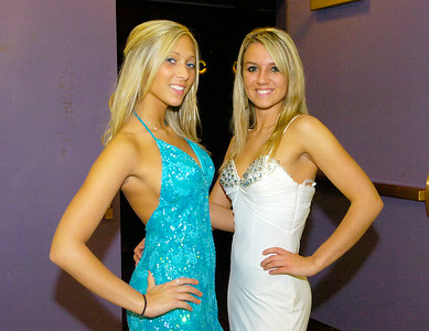 Leanna Viddivo, left, and Alexa Stepien wait to take the stage during Ballston Spa High School's prom fashion show on Wednesday. All dresses provided by Rockabella Boutique of Saratoga Springs. Ed Burke 3/31/10