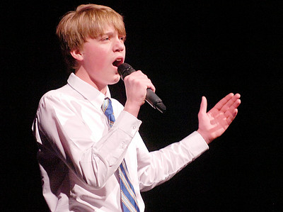 "Zack Gardner performs ""Comedy Tonight"" during Friday's Just Desserts cabaret fundraising show by the Ballston Spa High School Troupe. Ed Burke 3/4/11"