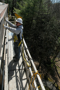 SPAC construction continues as they work on the sides of the building facades, Paul Stackewicz works on the siding. Photo Erica Miller 3/30/12 news_SPAC3_Sat