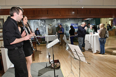 Scott Horsington and Michele Von Haugg of Clarinets for Conservation play music during the Night at the Brewseum, a wine and beer tasting sponsored by the NYS Military Museum and the Saratoga Lions Club. Photo Eric Jenks 3/30/12
