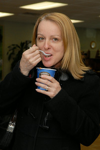 At Saratoga National Bank in Wilton customer Laura Childs enjoyed some Creamy Tomato Soup for customers. Staff members made up to four different soups to serve to customers.  Photo Erica Miller 3/30/12 wg_SarNational4