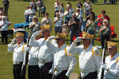 Members of the Saratoga National Cemetery Honor Guard Assoc. pay salute during Mondays Memorial Day ceremony at the Saratoga National Cemetery. photo Rick Gargiulo news_memday6_tue 5/25/09