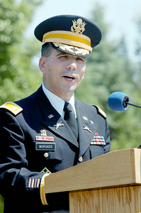 Guest Speaker LtCol Andy Morgado, Commanding Officer and Professor Military Science at Siena ROTC, spoke at  the 11th Annual Memorial Day Ceremony at the Gerald B.H. Solomon Saratoga National Cemetery. Photo Erica Miller 5/31/10 news_SarNtlCem6_Tues
