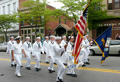 Navy personnel stationed at the nuclear traing facility in West Milton march in Saturday's Memorial Day parade in Ballston Spa. Ed Burke 5/29/10