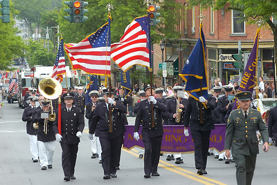 The Ballston Spa Fire Department marching band and firefighters march in Saturday's Memorial Day parade. Ed Burke 5/29/10