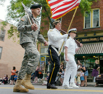 Veterans and active military personnel march in Ballston Spa's Memorial Day parade. Ed Burke 5/29/10
