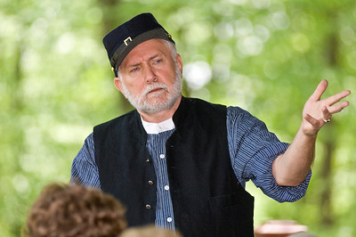 Steve Trim portraits and tells the first person narrative of Civil War Veteran Oliver Clarke at Grant Cottage in Wilton, NY Sunday afternoon. Photo Eric Jenks 5/29/11