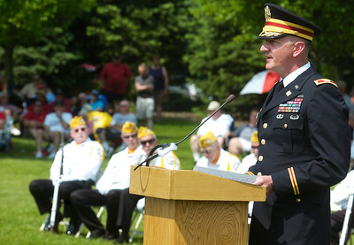 Guest Speaker Col. Mark Migaleddi, Commander of the US Army Watervliet Arsenal, spoke at the Saratoga National Cemetery 12th annual Memorial Day ceremony.  Photo Erica Miller 5/30/11 news_MemDay5_Tues