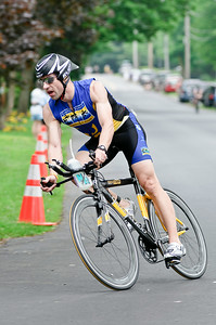 First non-relay Finisher Todd Sharynski flys through a turn during the bike portion of the Saratoga Lions Duathlon Sunday Morning. Sharynski finished the 5k, 20 mile bike, 5k run in 1:29 and 29 seconds. Photo By Eric Jenks 5/29/11