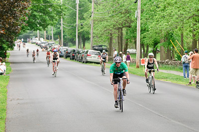 Riders spread out during the biking portion of the Saratoga Lions Club Duathlon Sunday Morning near Skidmore on Clinton Street. Photo By Eric Jenks 5/29/11
