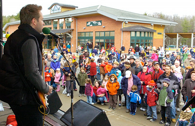 Shaun Verreault, lead singer of Wide Mouth Mason who played with the band Prescott,  performed for audiences Christmas tunes with the Canadian Pacific Holiday Train which stopped at the Saratoga Springs Amtrak Station Monday morning. Photo Erica Miller 11/30/09 news_HolidayTrain4_Tues