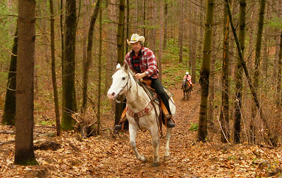 Veterinarian Dr. Ron Peters of Greenwich gallops his mount Spook up a hill during a Thanksgiving Day group ride at Louden Trail. Ed Burke 11/26/09