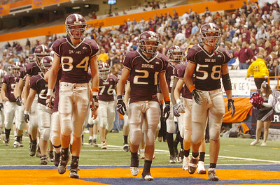 BHBL Football players leave the field after the first half during their Class A NYS Tournament against Sweet Home High School at the Syracuse Carrier Dome. Photo Erica Miller 11/28/09 news_BHBLsweet2_Sun