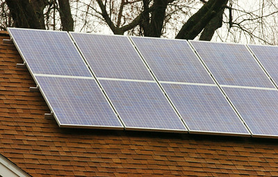 Solar Panels located atop Elayne Leonelli house in Glens Falls. Photo Erica Miller 11/27/09 news_Solar1_Sun