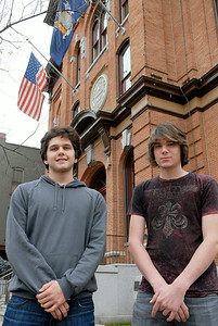 These two Saratoga Springs High School students Jonah Glover, left, and Steve Hill are developing a social networking site called Politic Pop. The hope to have the site to go live in March. Photo Erica Miller 11/28/11 news_PoliticPop_up