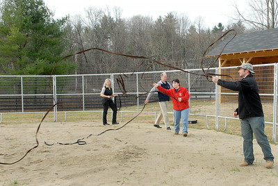 People learn techniques taught by Program lead instructor Melody Squier to gain interest in the program. Tuesday they held a meeting where they introduced a new program to introduce veterans to work through their emotional problems by working with horses, at Walpole Farm on Ruggles Road. Photo Erica Miller 11/29/11 news_WalpoleVet8_Sun