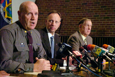 Major Bill Sprague discusses details of the missing body Jennifer Marie Hammond with Saratoga County DA James Murphy and Sheriff Jim Bowen (right) at the the DA Office in Ballston Spa. Photo Erica Miller 10/29/09 news_missing3_Fri